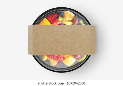 Fruit Salad Food Container With Cover Sticker Mockup