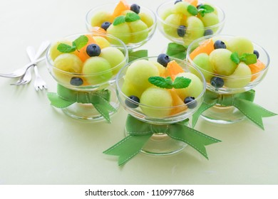 Fruit salad in glass