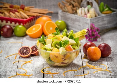 Fruit salad in glass bowl, fresh fruits