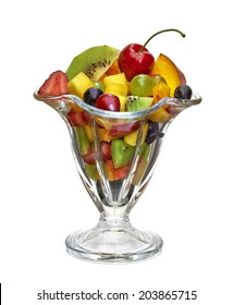 Fruit salad in glass cup with clipping path