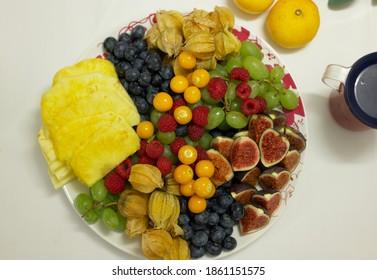 fruit salad on plate closeup