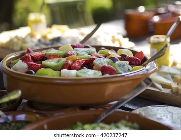 Fruit salad on table outdoors