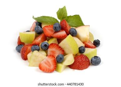 Fruit salad on a white background