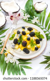 fruit salad on a white plate
