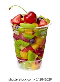Fruit salad in takeaway cup on white background