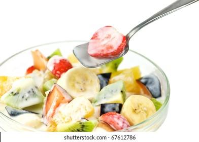fruit salad with yogurt closeup