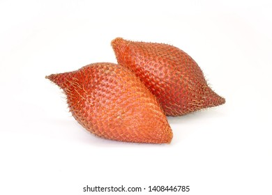 Fruit : Salak isolated on white background. Salak (Salacca zalacca) or Snake fruit is a species of palm tree native to Java and Sumatra in Indonesia. Famous exotic fruits from Thailand.