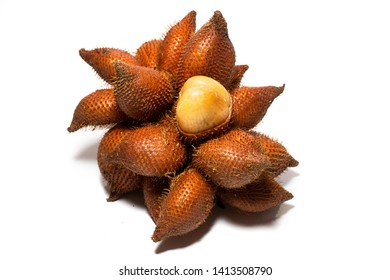 Fruit : Salak isolated on white background. Salak (Salacca zalacca) or Snake fruit is a species of palm tree native to Java and Sumatra in Indonesia. Famous exotic fruits from Thailand