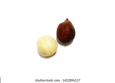 Fruit : Salak isolated on white background. Salak (Salacca zalacca) or Snake fruit is a species of palm tree.