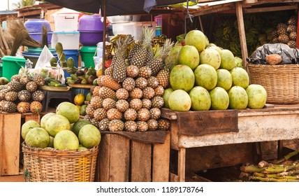 Fruit for sale at an outdoor market in Accra Ghana