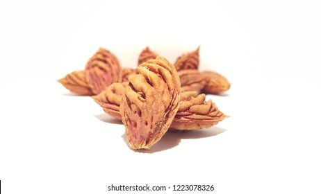 Fruit Seeds on White Background.  Nectarine Peach Pits.  Artistic Layout.