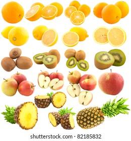 Fruit set isolated on white
