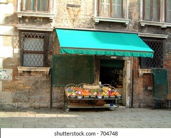 Fruit shop, Venice on one of the many piazzas situated around the city