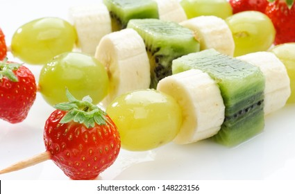 Fruit skewers, close-up