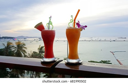 Fruit Smoothie For Drink and Sea View Background