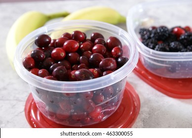 Fruit smoothie ingredients. Meal prep containers.