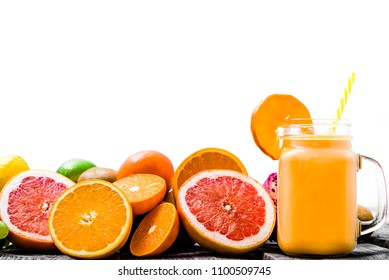 Fruit smoothie with tropical fruits, juice or refreshing drink for breakfast, healthy lifestyle concept