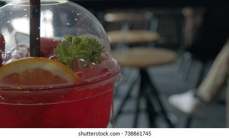 Fruit soda in cafe