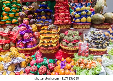 Fruit stacked at a stall in Mercado Municipal market in Sao Paulo, Brazil