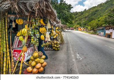Fruit Stall by the roadside in Bog Walk, St Catherine, Jamaica.