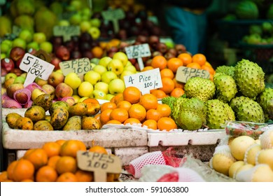 Fruit stall at a local market in Kandy, Sri Lanka