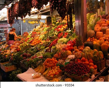 Fruit stand at the Boqueria market in Barcelona, Spain