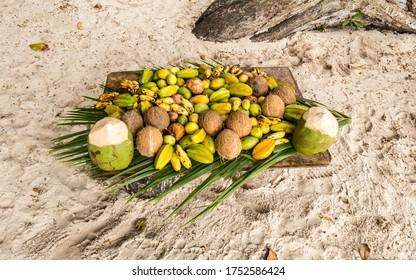 fruit stand on the beach Anse Georgette,  Praslin island, Seychelles