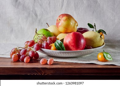 fruit still life, fruit laid out on the table and background