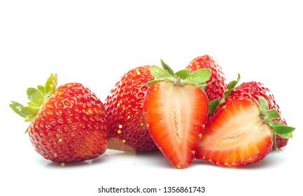 Fruit strawberries food ripe fresh tasty halves
