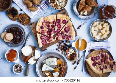 Fruit strawberry pizza eating table with cheese appetizers dish brunch food concept