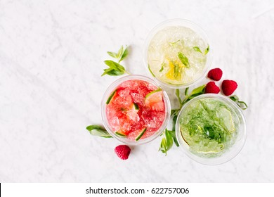 Fruit summer drinks with ice. Flat lay, top view. - Shutterstock ID 622757006