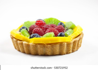 Fruit tart on white background, closeup, isolated