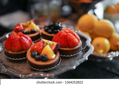 Fruit tart. Fruit tarts with soft focus on the strawberry. soft focus on small strawberry.