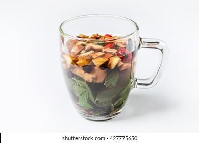 Fruit tea on white background