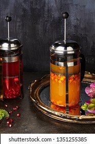 Fruit Teas Set of Green Tea, Pomegranate, Hibiscus, Raspberry and Sea Buckthorn Tea. Hot and Cold Sweet Fruit Drink Collection in French Presses with Honey and Fragrant Herbs