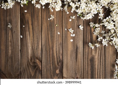 fruit tree flowers on wooden background.