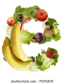 Fruit and vegetable alphabet - letter e. Isolated on a white background