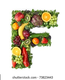 Fruit and vegetable alphabet - letter F
