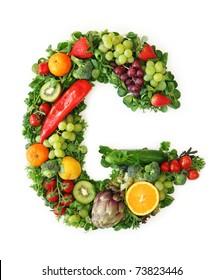 Fruit and vegetable alphabet - letter G