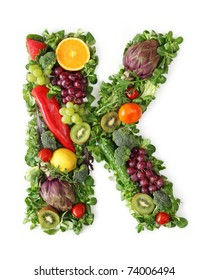 Fruit and vegetable alphabet - letter K