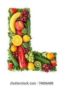 Fruit and vegetable alphabet - letter L