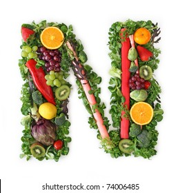 Fruit and vegetable alphabet - letter N