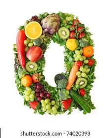Fruit and vegetable alphabet - letter Q