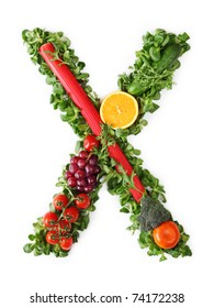 Fruit and vegetable alphabet - letter X