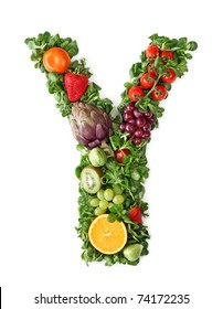 Fruit and vegetable alphabet - letter Y