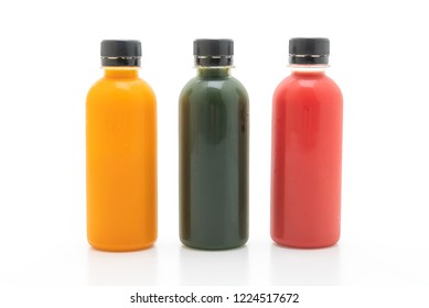 fruit and vegetable juice bottle (healthy drink) isolated on white background