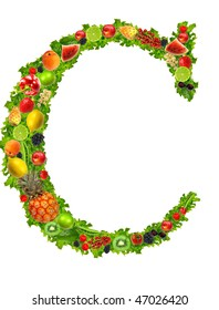 Fruit and vegetable letter C