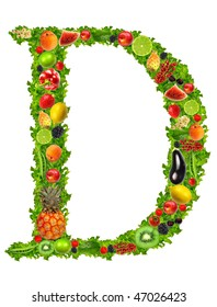 Fruit and vegetable letter D