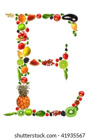 Fruit and vegetable letter E
