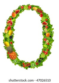 Fruit and vegetable letter O